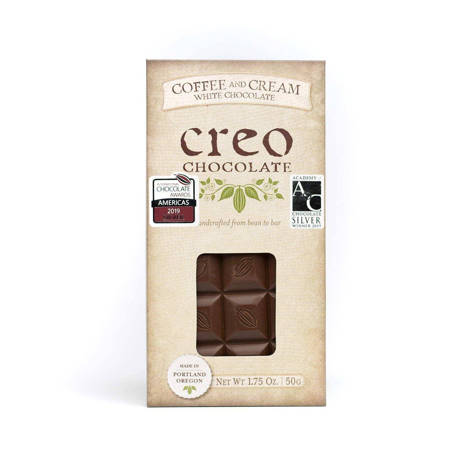 Coffee & Cream White Chocolate Bar - Creo Chocolate
