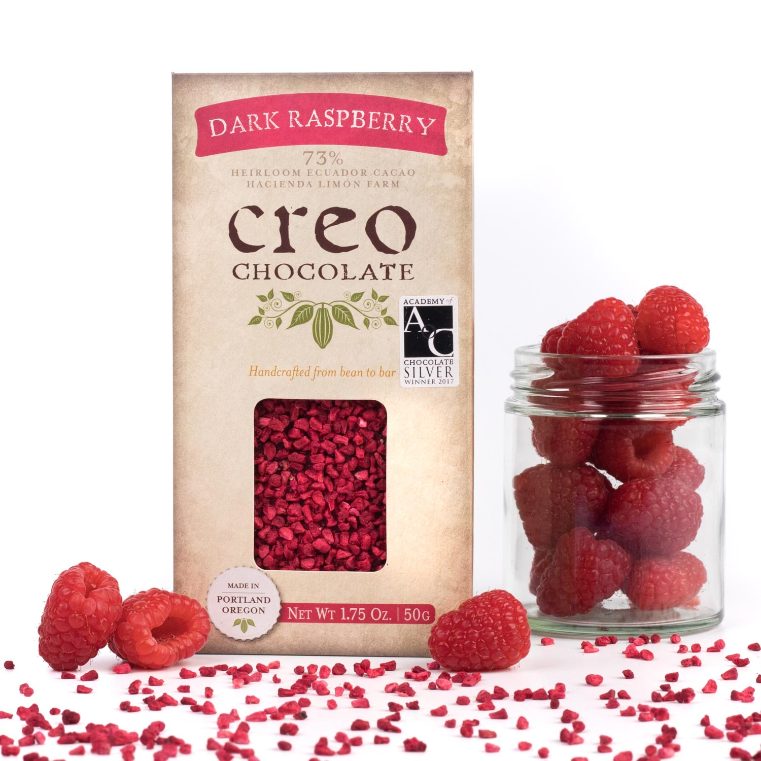 Dark Raspberry Bar - Creo Chocolate