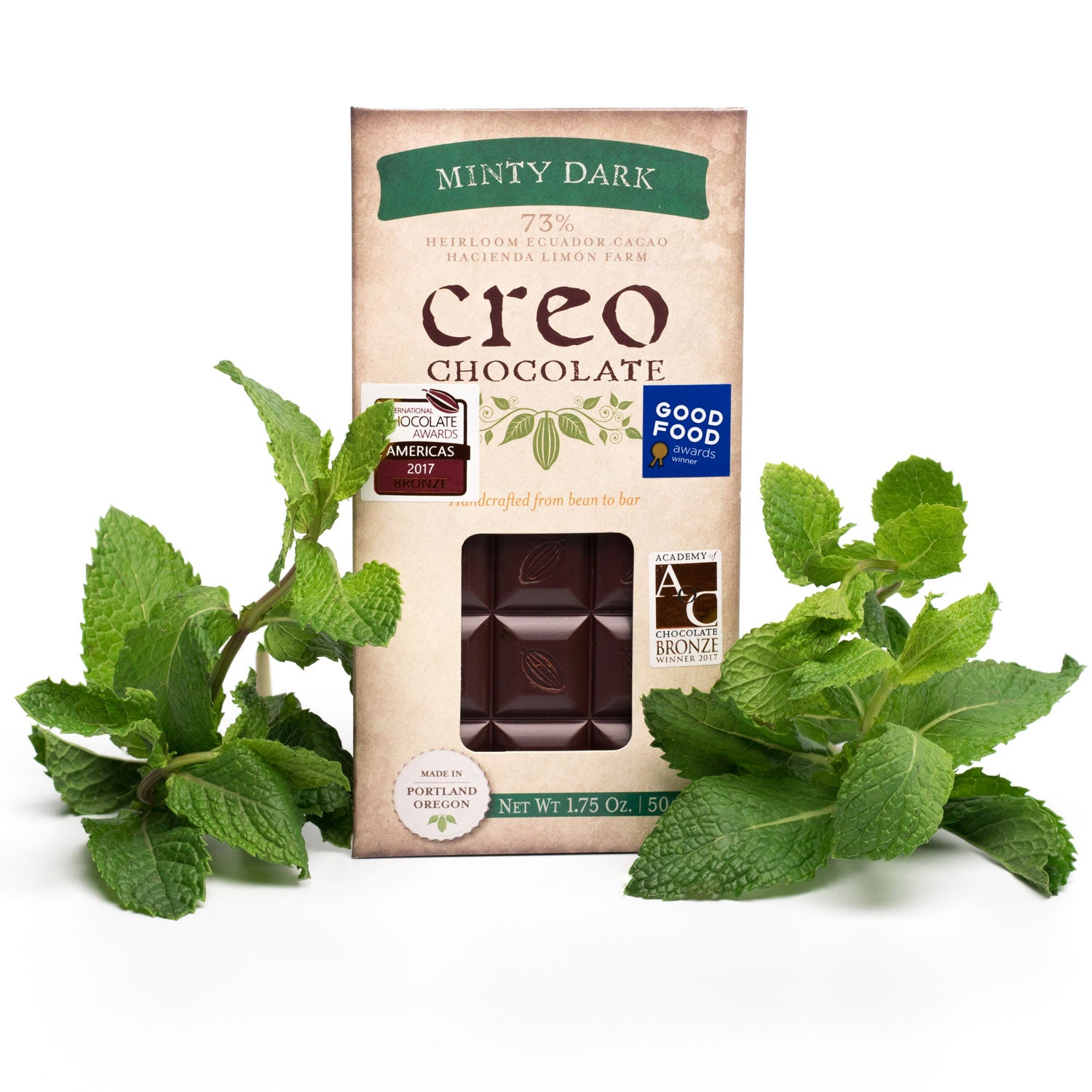 Minty Dark Chocolate Bar 73% - Creo Chocolate