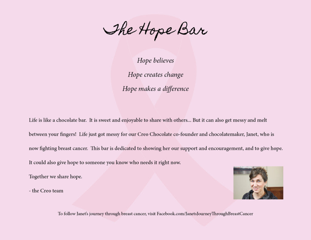 The Hope Bar (strawberry & hibiscus white chocolate) - Creo Chocolate