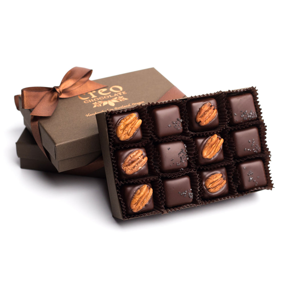 Black Lava Salted Caramel & Turtle (Pecan and Caramel) 12-pack - Creo Chocolate