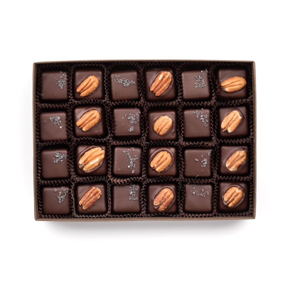 Black Lava Salted Caramel & Turtle (Pecan And Caramel) 24-pack - Creo Chocolate