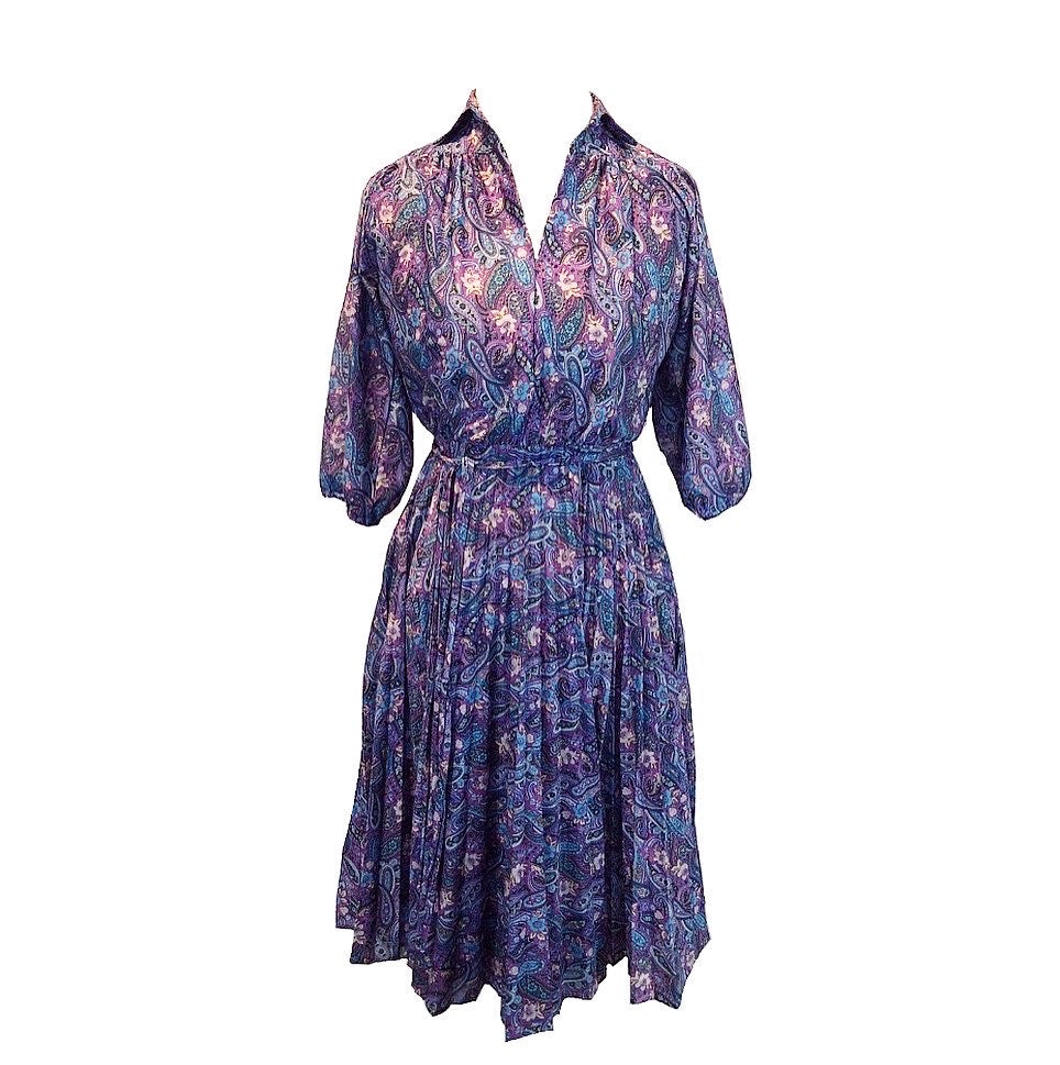 Vintage 1970s Purple Paisley Dress