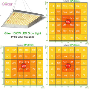 Giixer 1000W LED Grow Light, 3x3ft Sunlike Full Spectrum led Plant Light Hydroponic Indoor-(Samsung 3030 LEDs)