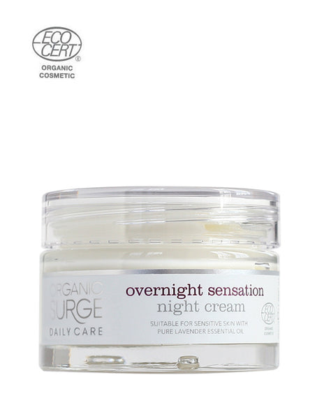 ECOCERT Greenlife certified Organic Surge natural vegan daily care Overnight Sensation Night Cream suitable for sensitive skin with lavender essential oil Jar