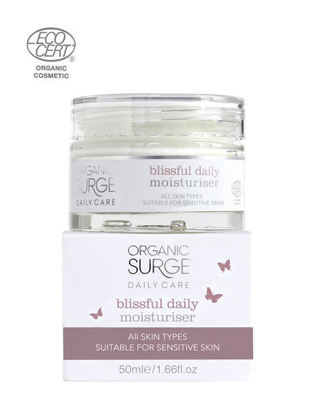 ECOCERT Greenlife certified Organic Surge natural vegan daily care Blissful Daily Moisturiser for all skin types including sensitive skin