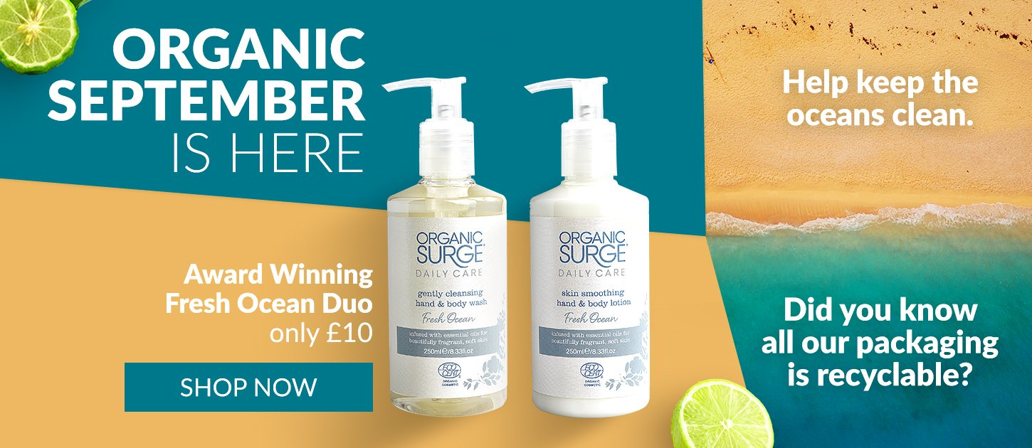 Fresh Ocean Hand & Body Duo for £10 during Organic September Free P&P over £15. Everything Recyclable.