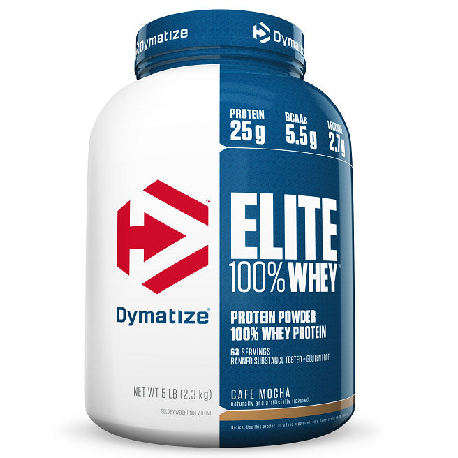 Dymatize Elite 100% Whey Protein Powder, Cafe Mocha, 5 lb
