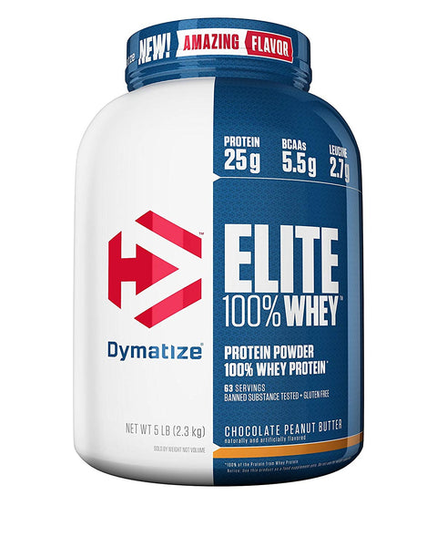 Dymatize Elite 100% Whey Protein Powder, 5 lb, Chocolate Peanut Butter