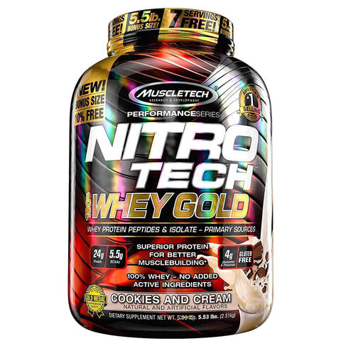 Muscletech Nitrotech Whey Gold Performance Series – 5.51 lbs, 2.50 kg (Cookies and Cream)