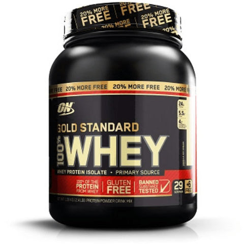 Optimum Nutrition (ON) Gold Standard 100% Whey Protein Powder - 2 lbs, 907 grams Double Rich Chocolate (20% More Free)