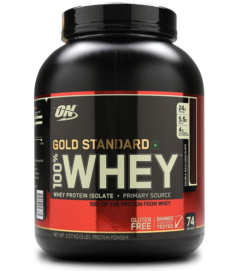 Optimum Nutrition (ON) Gold Standard 100% Whey Protein Powder - 5 lbs, 2.27 kg Double Rich Chocolate