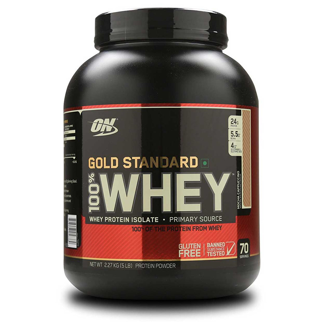 Optimum Nutrition (ON) Gold Standard 100% Whey Protein Powder - 5 lbs, 2.27 kg (Mocha Cappuccino)