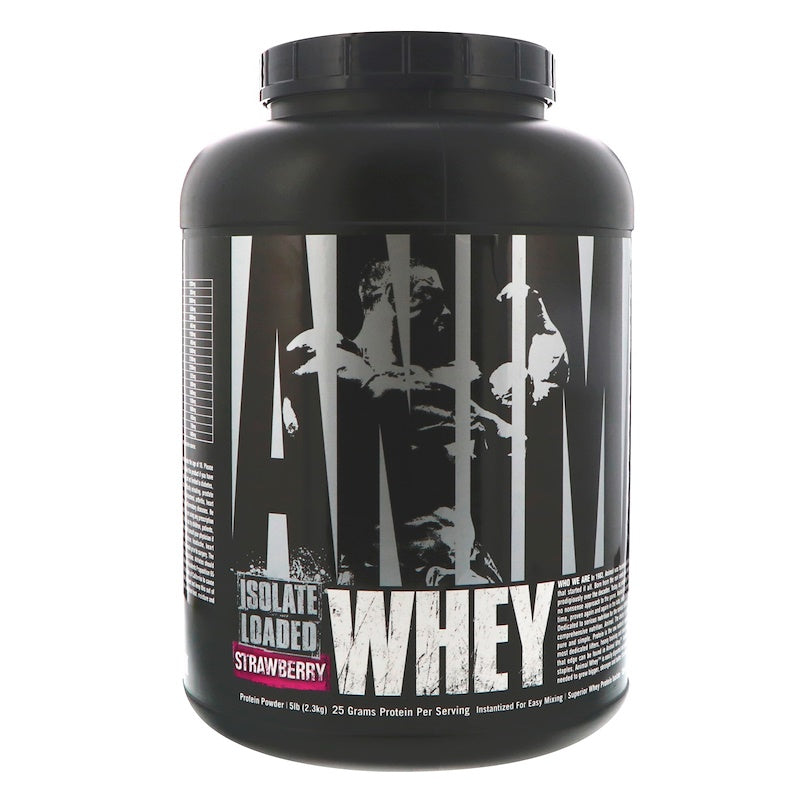 Universal Nutrition Animal Whey Isolate Loaded Whey Protein Powder Supplement, Strawberry, 5 lbs
