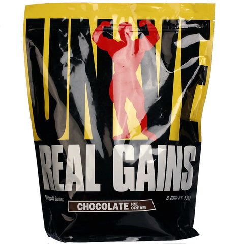 Universal Nutrition Real Gains Weight Gainer, 6.85 lb (3.11 kg), Chocolate Ice Cream