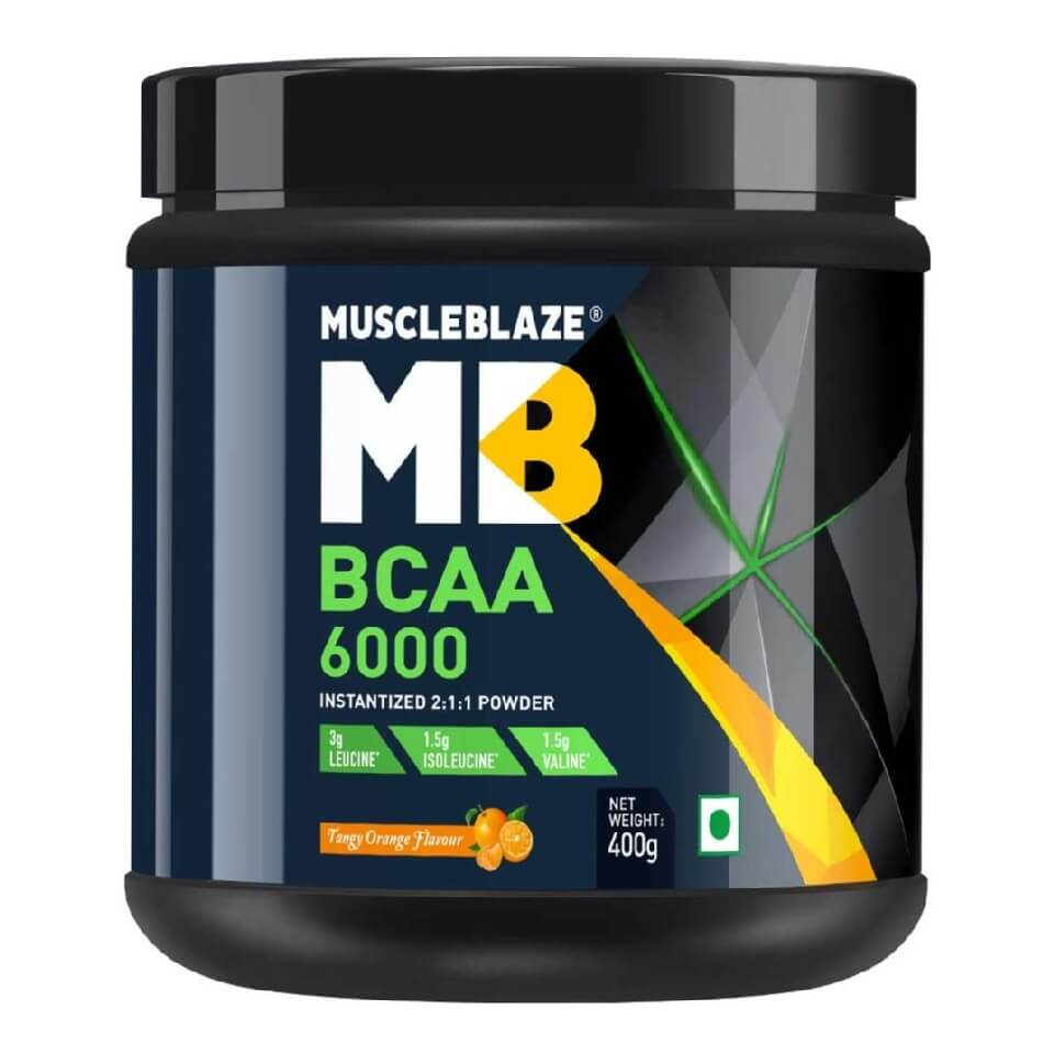 MuscleBlaze BCAA 6000 Amino Acid Powder, Tangy Orange 50 Servings