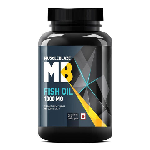 MuscleBlaze Fish Oil (1000 mg) Supports Heart, Brain & Joint Health, 90 softgels