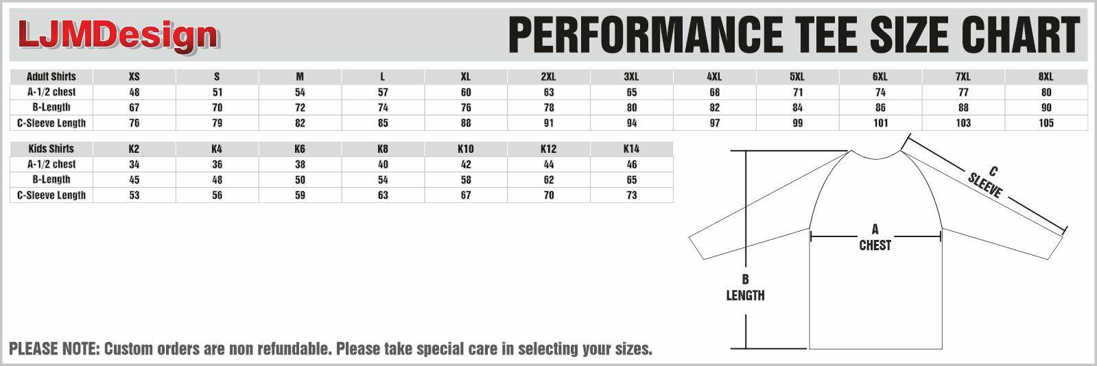 performance tee size chart