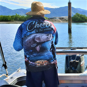 Cheers to the Weekend Fishing Shirt - Blue