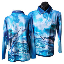 Load image into Gallery viewer, Black Marlin Fishing Shirt Blue