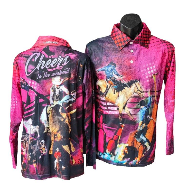 Cheers to the Weekend Pink- Rodeo Fishing Shirt