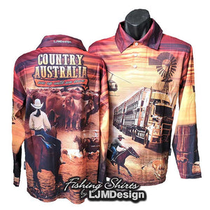Country Australia - Sun up until sun down Fishing Shirt