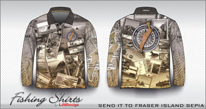 Send It To Fraser Island Fishing Shirt - Sepia