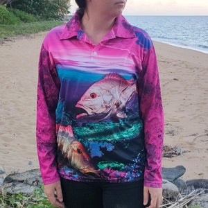Coral Reef Colour - Pink Fishing Shirt