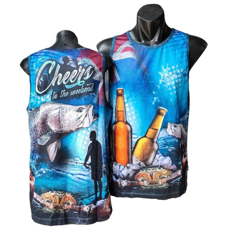 Cheers to the Weekend Fishing Singlet - Blue