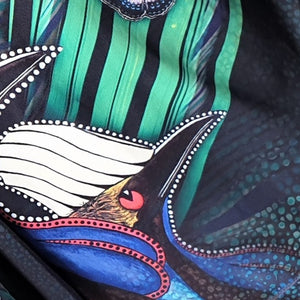 Rainforest Cassowary - Fishing Shirt Aboriginal Art Painting
