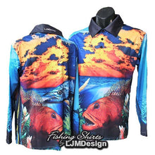 Load image into Gallery viewer, Morning Coral Trout Fishing Shirt