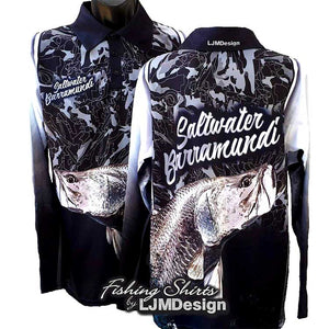 Saltwater Barra - Black Camo Fishing Shirt