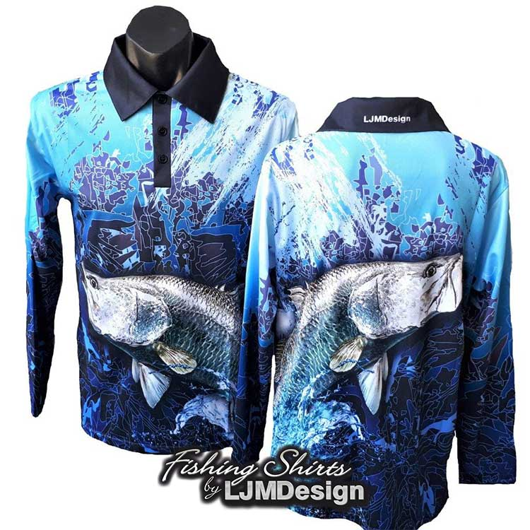 Blue Barramundi Fishing Shirt