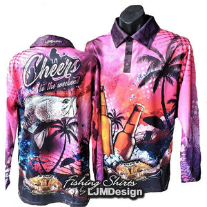 Cheers to the Weekend Fishing Shirt - Pink