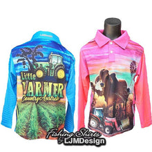 Load image into Gallery viewer, Little Farmer Fishing Shirt - Tractor Cattle