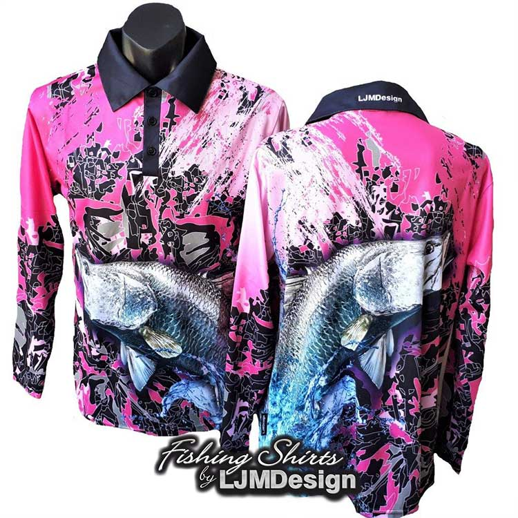 Pink Barramundi Fishing Shirt