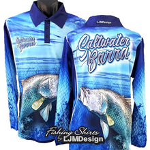 Load image into Gallery viewer, Saltwater Barra - Dark Blue Fishing Shirt