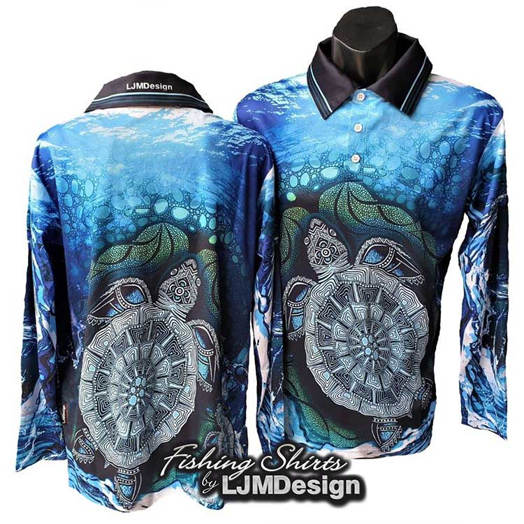 Turtle Fishing Shirt - Aboriginal Indigenous Painting Art