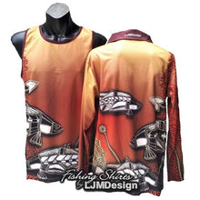 Load image into Gallery viewer, Waterhole Barramundi - Ochre Fishing Shirt Aboriginal Art Painting