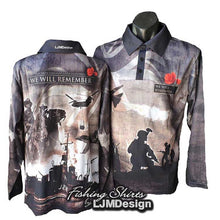 Load image into Gallery viewer, We Will Remember War Fishing Shirt WWI WWII