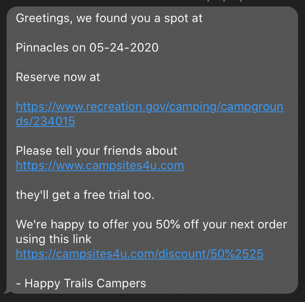 alerts for campsites near me