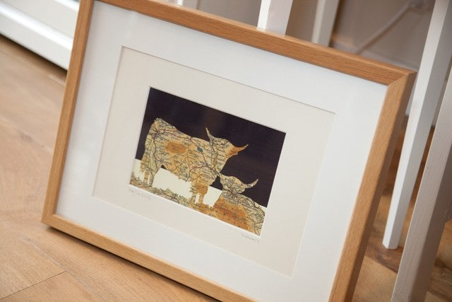 Framed Ilkley Cow & Calf Picture