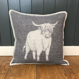 Highland Cow Wool Cushion