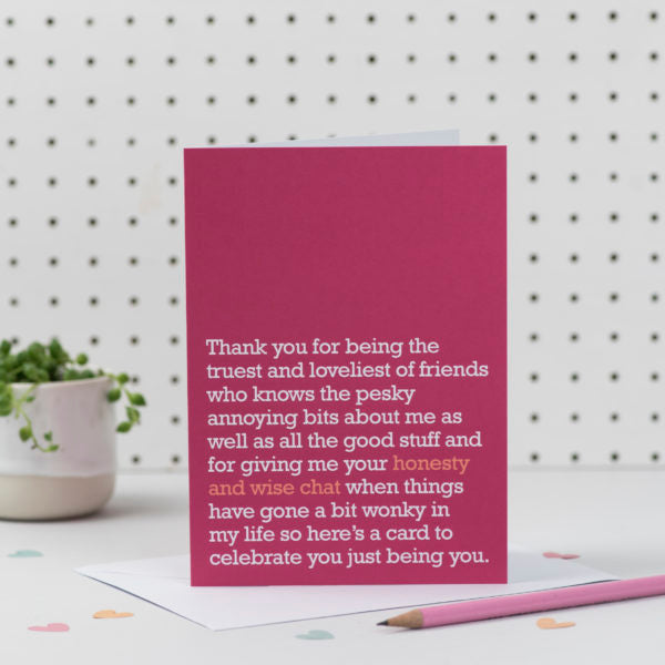 'Honesty and Wise Chats' Card