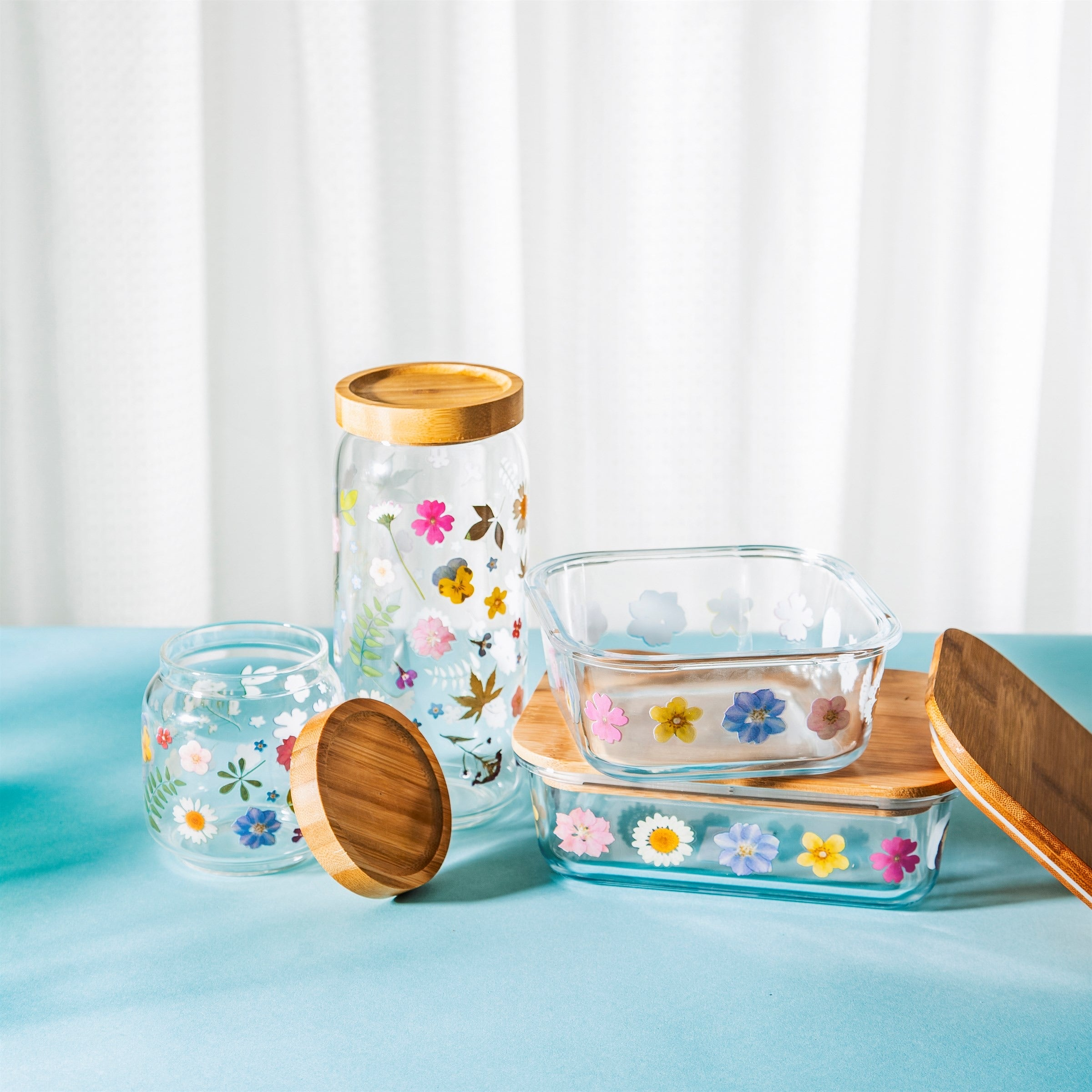 Glass Food Storage Box - Flowers Large