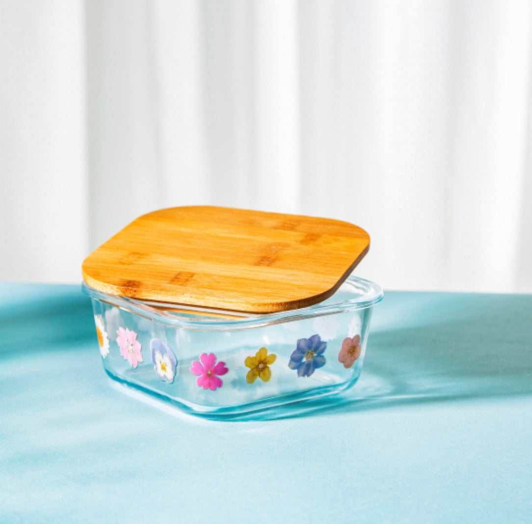 Glass Food Storage Box - Flowers Small