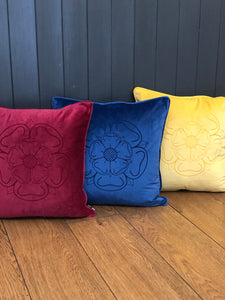 Velvet Yorkshire Rose Cushion
