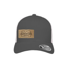 Load image into Gallery viewer, Adventure Awaits Charcoal and White Flexfit Snapback Trucker