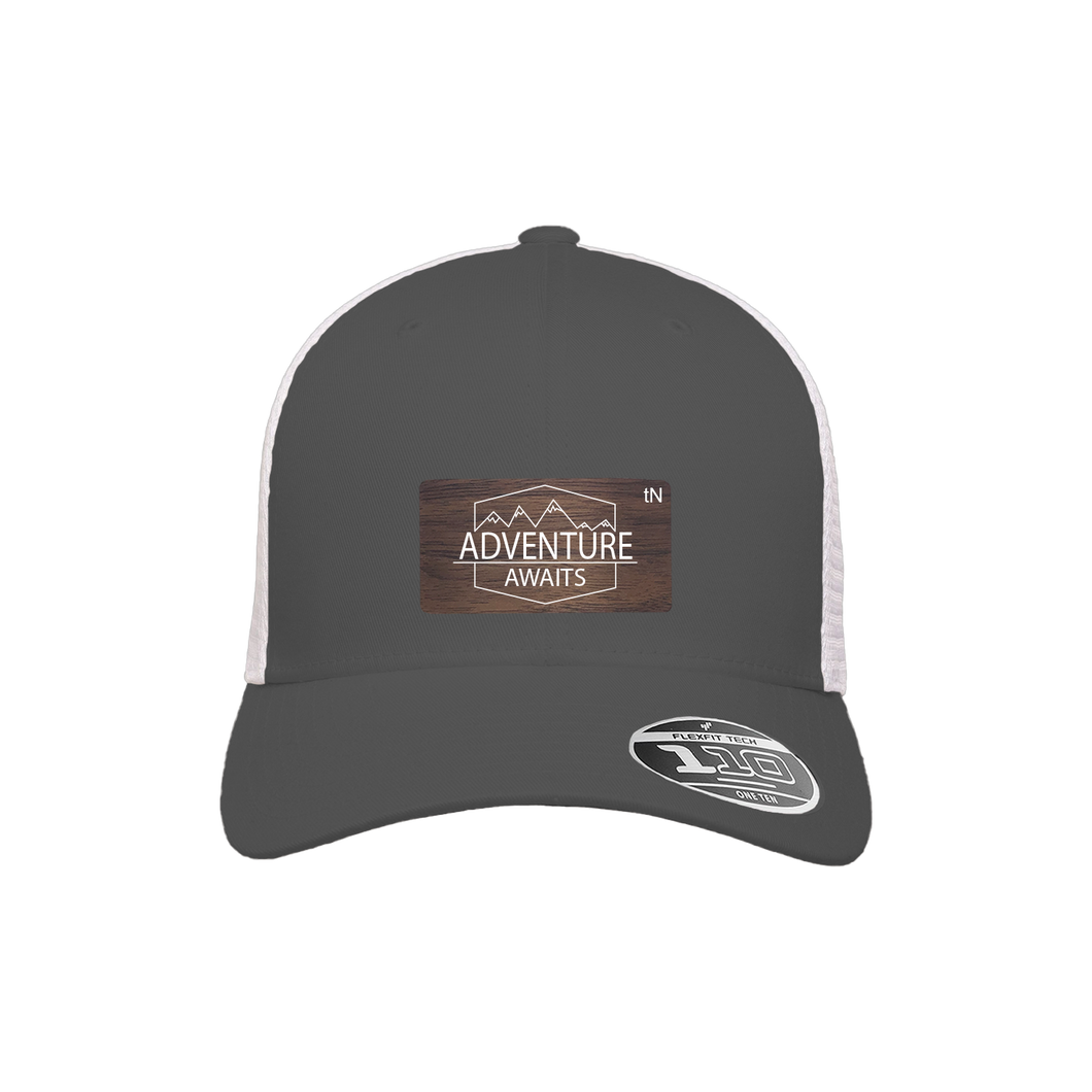 Adventure Awaits Charcoal and White Flexfit Snapback Trucker