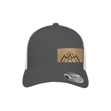 Load image into Gallery viewer, Mountain Sunrise Charcoal and White Flexfit Snapback Trucker